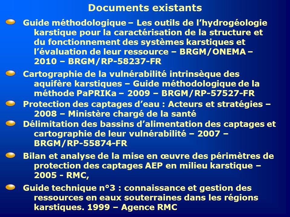 Documents existants