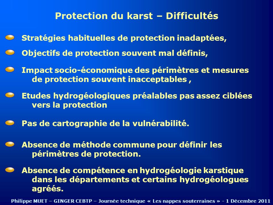 Protection du karst – Difficultés