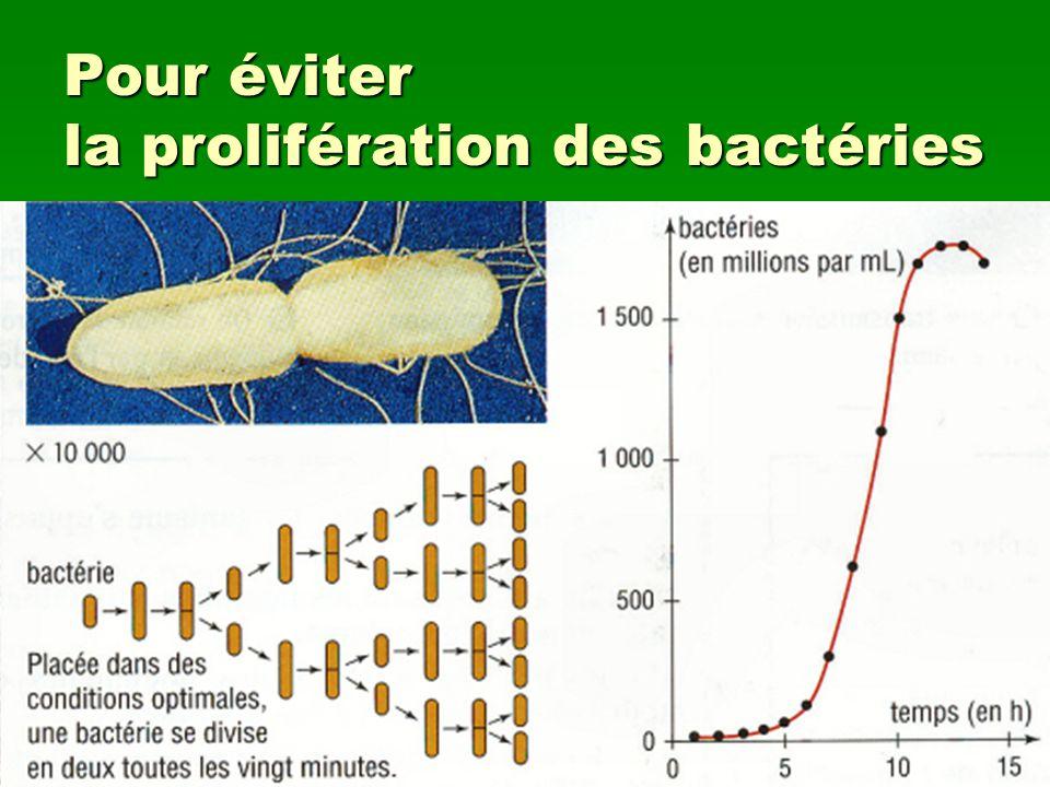 Pour éviter la prolifération des bactéries