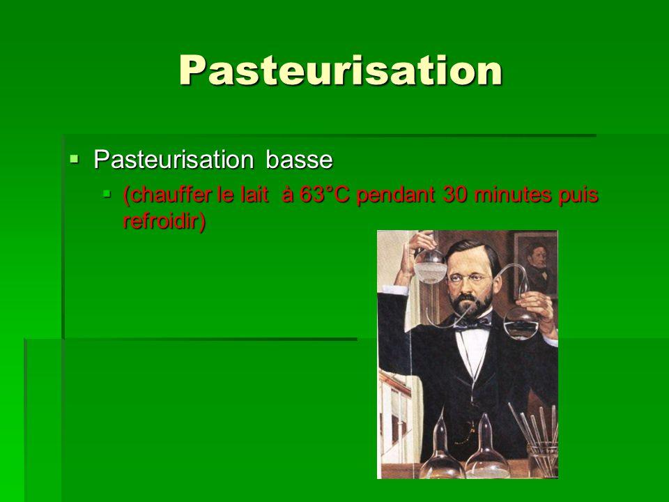 Pasteurisation Pasteurisation basse