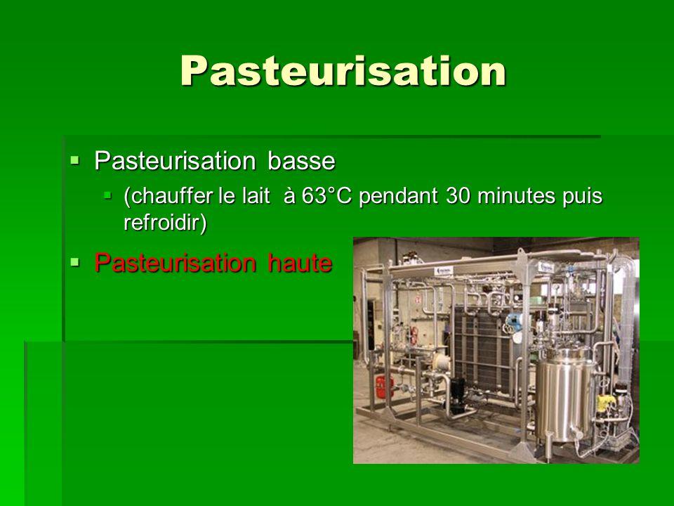 Pasteurisation Pasteurisation basse Pasteurisation haute