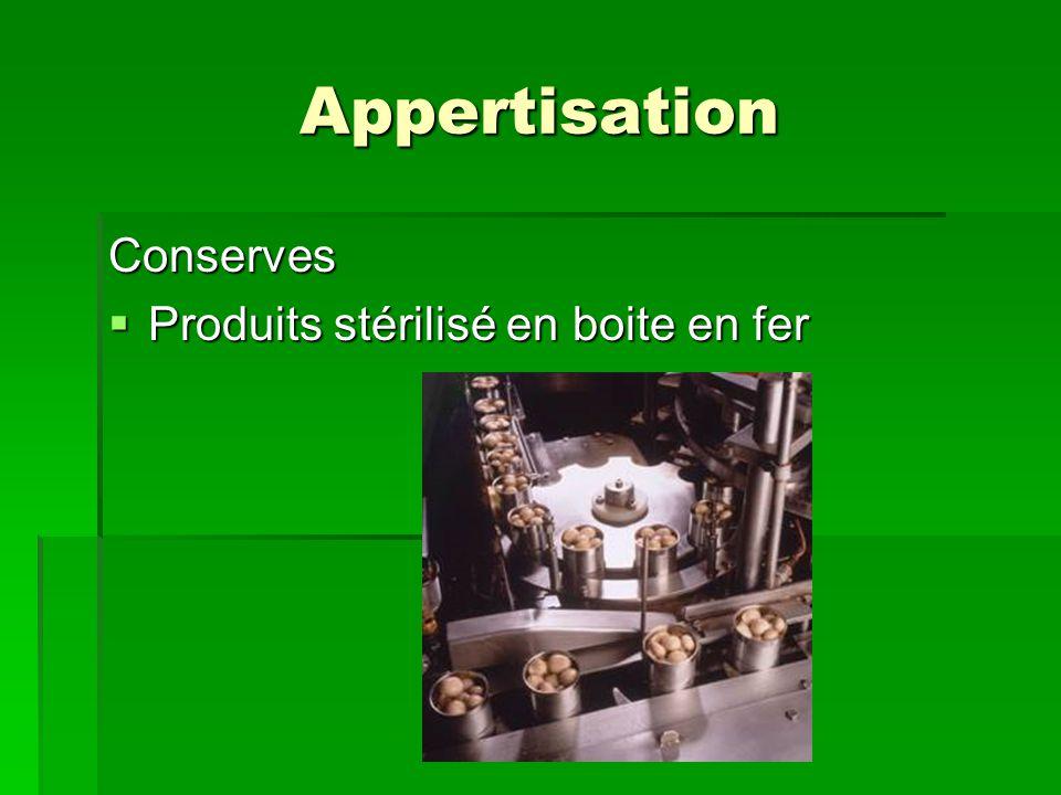 Appertisation Conserves Produits stérilisé en boite en fer