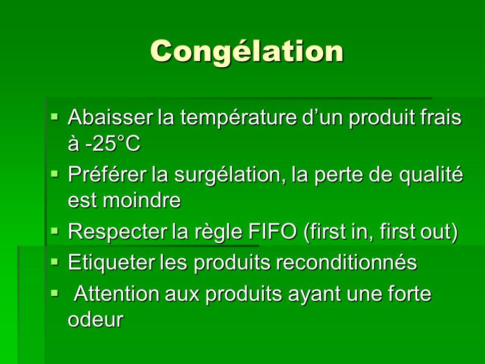 Congélation Abaisser la température d'un produit frais à -25°C