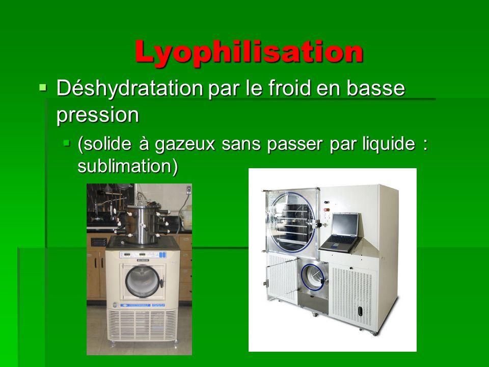 Lyophilisation Déshydratation par le froid en basse pression