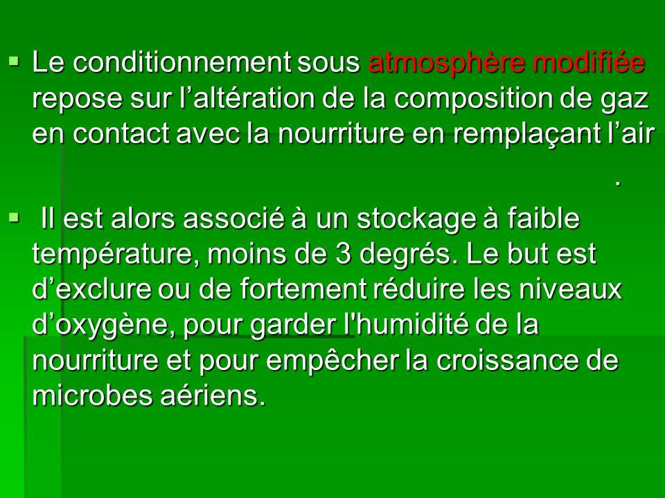 Le conditionnement sous atmosphère modifiée repose sur l'altération de la composition de gaz en contact avec la nourriture en remplaçant l'air