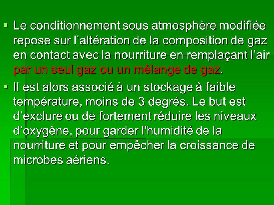 Le conditionnement sous atmosphère modifiée repose sur l'altération de la composition de gaz en contact avec la nourriture en remplaçant l'air par un seul gaz ou un mélange de gaz.