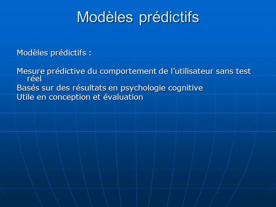 Modèles prédictifs Modèles prédictifs :