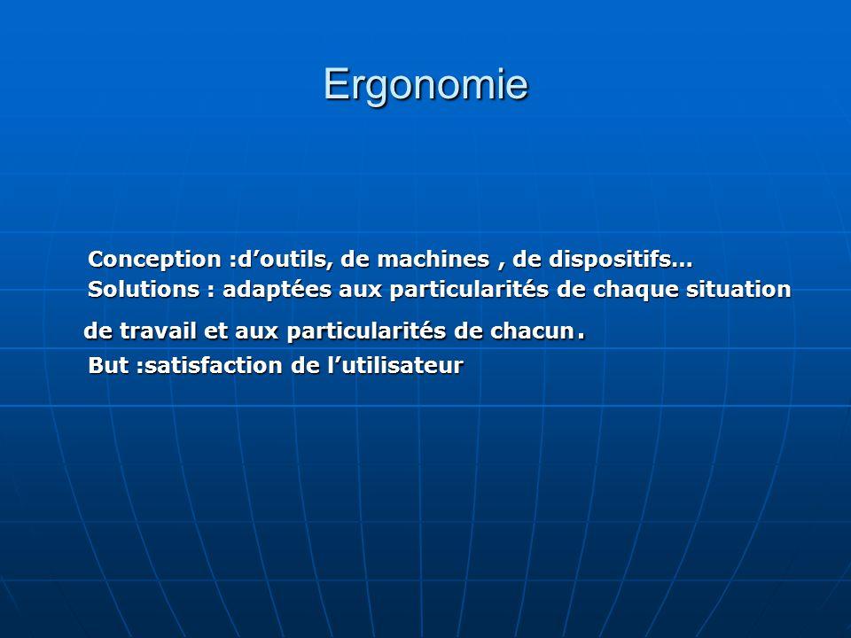 Ergonomie Conception :d'outils, de machines , de dispositifs…
