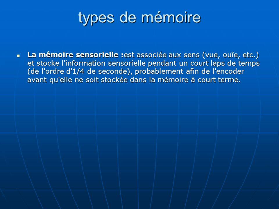 types de mémoire