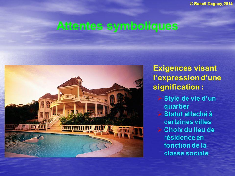 Attentes symboliques Exigences visant l'expression d'une signification : Style de vie d'un quartier.