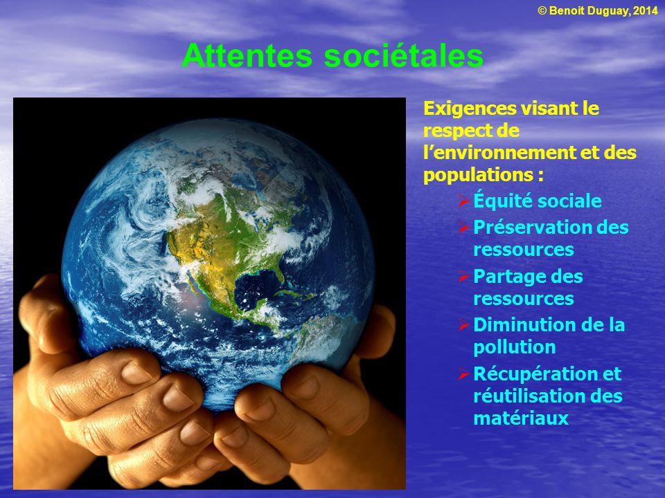 Attentes sociétales Exigences visant le respect de l'environnement et des populations : Équité sociale.