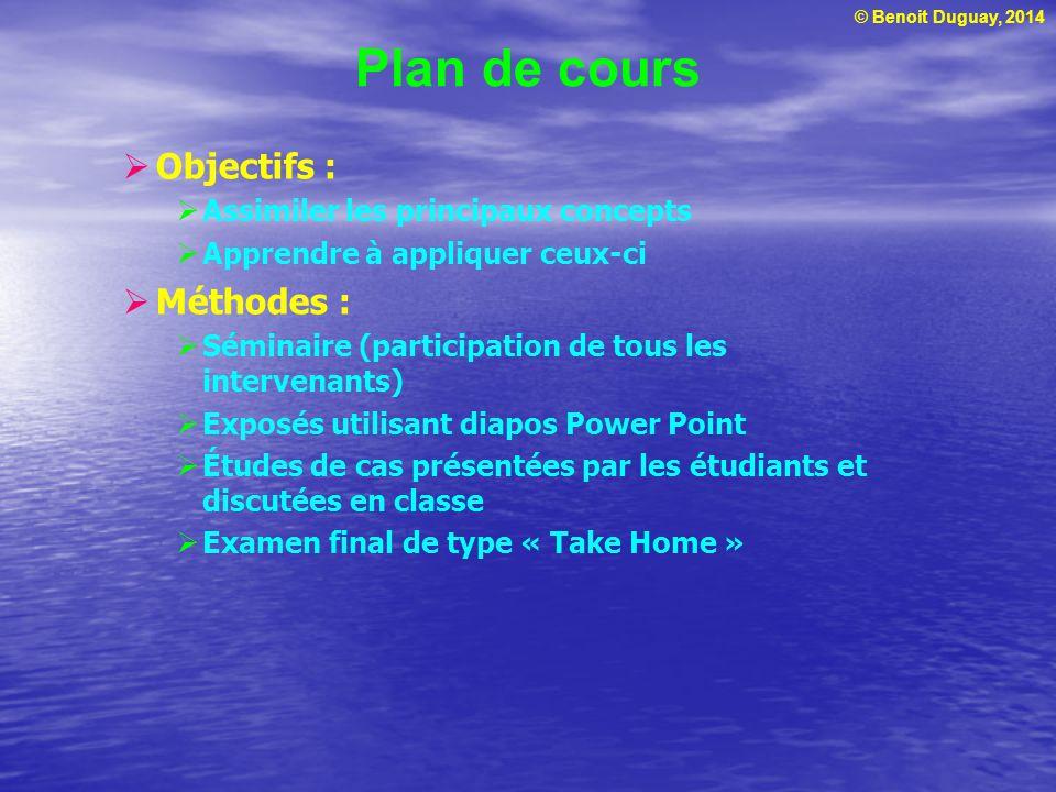 Plan de cours Objectifs : Méthodes : Assimiler les principaux concepts