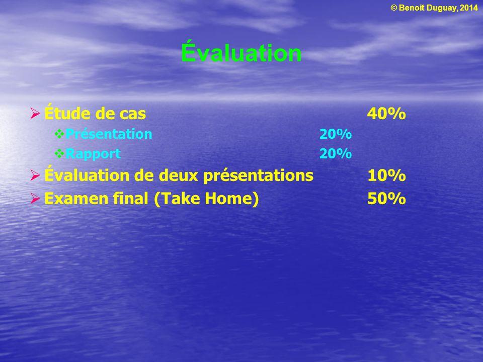 Évaluation Étude de cas 40% Évaluation de deux présentations 10%