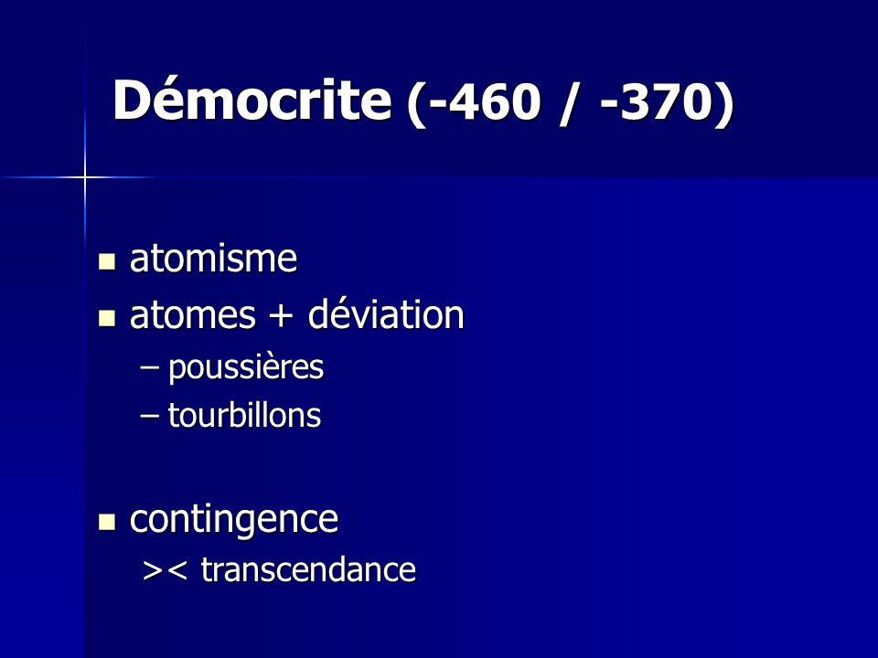 Démocrite (-460 / -370) atomisme atomes + déviation contingence
