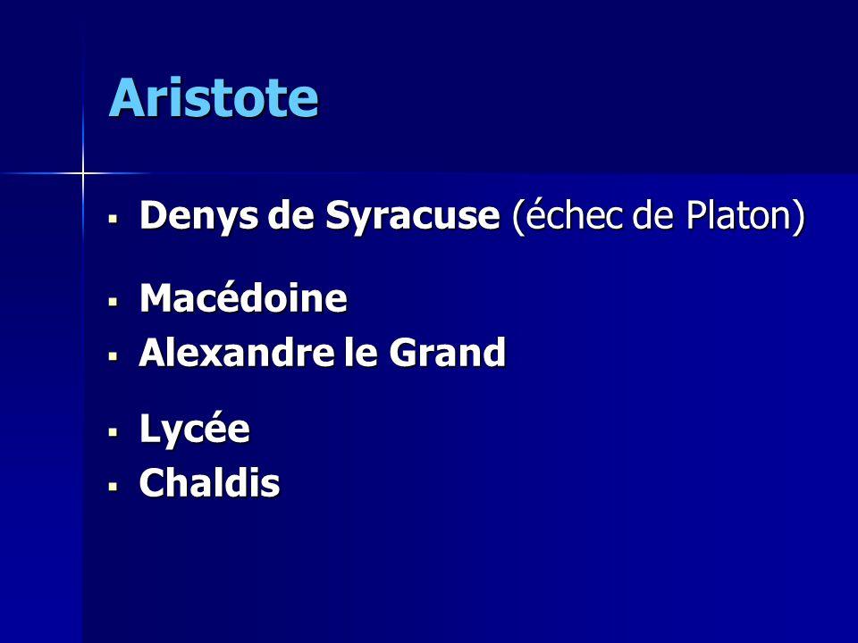 Aristote Denys de Syracuse (échec de Platon) Macédoine