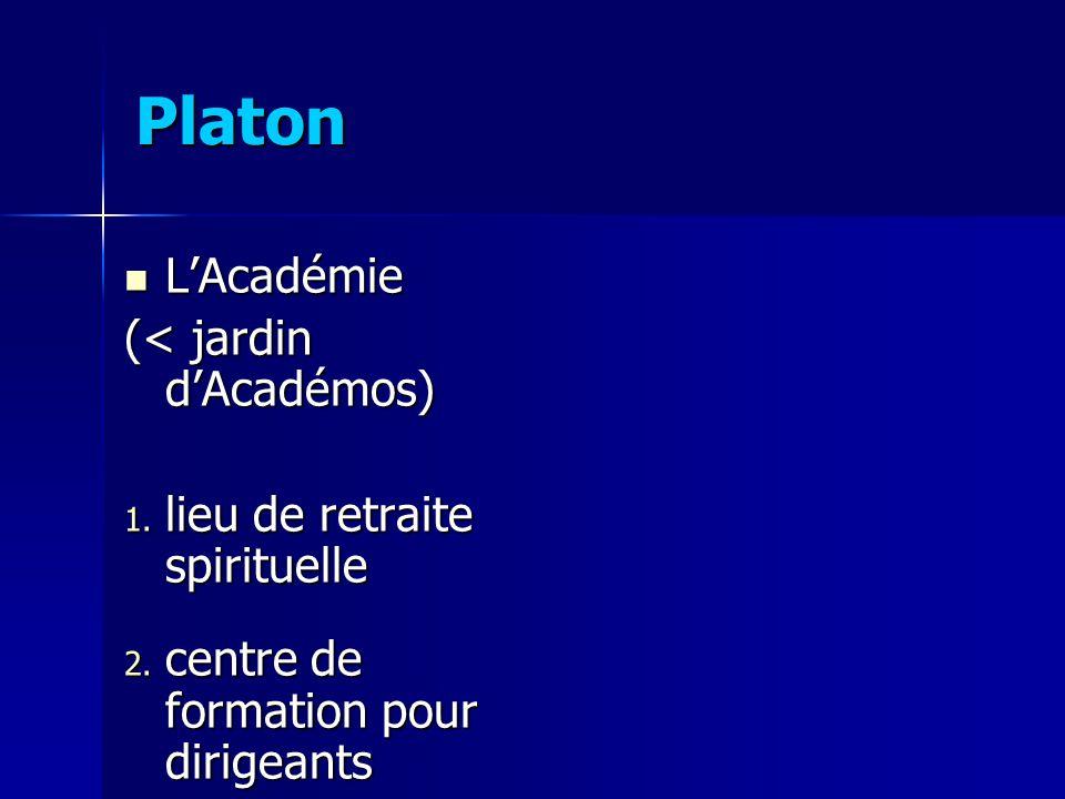 Platon L'Académie (< jardin d'Académos)