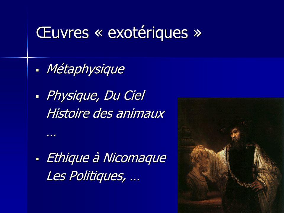 Œuvres « exotériques » Métaphysique Physique, Du Ciel