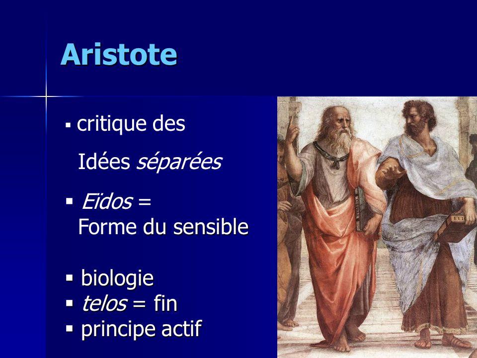 Aristote Idées séparées Eïdos = Forme du sensible biologie telos = fin