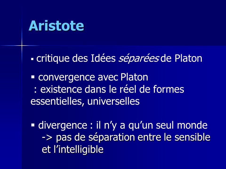 Aristote convergence avec Platon