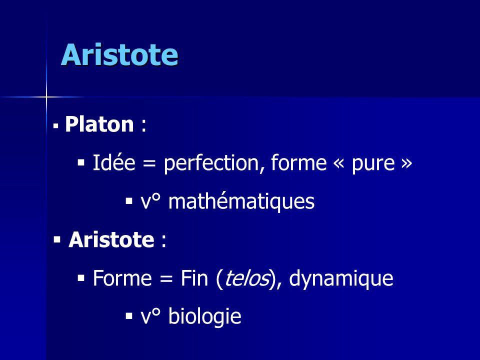Aristote Idée = perfection, forme « pure » v° mathématiques Aristote :