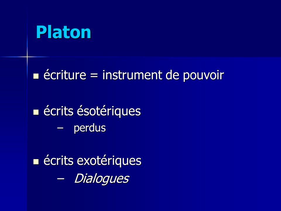 Platon écriture = instrument de pouvoir écrits ésotériques