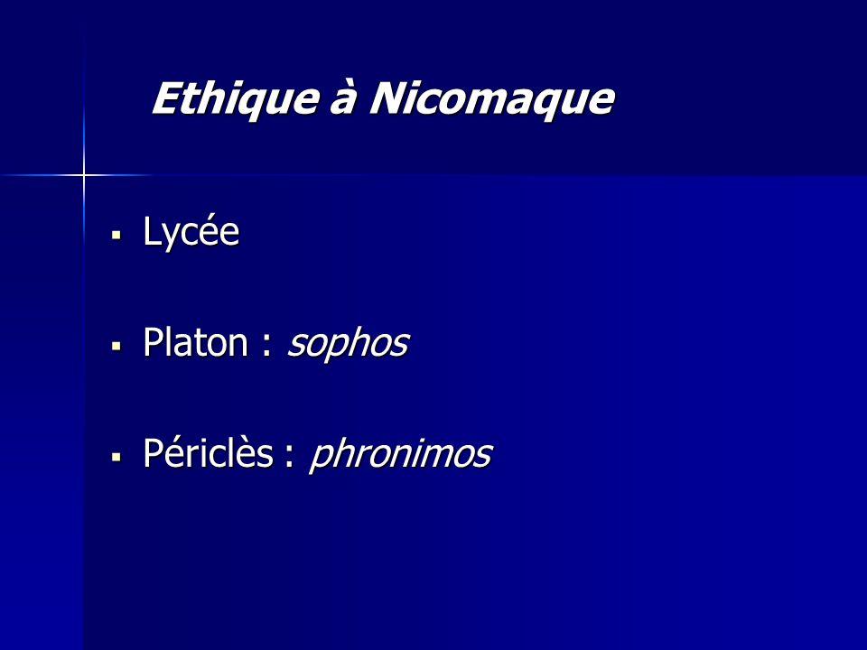 Ethique à Nicomaque Lycée Platon : sophos Périclès : phronimos