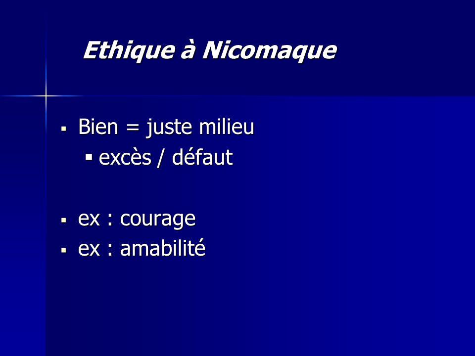 Ethique à Nicomaque Bien = juste milieu excès / défaut ex : courage