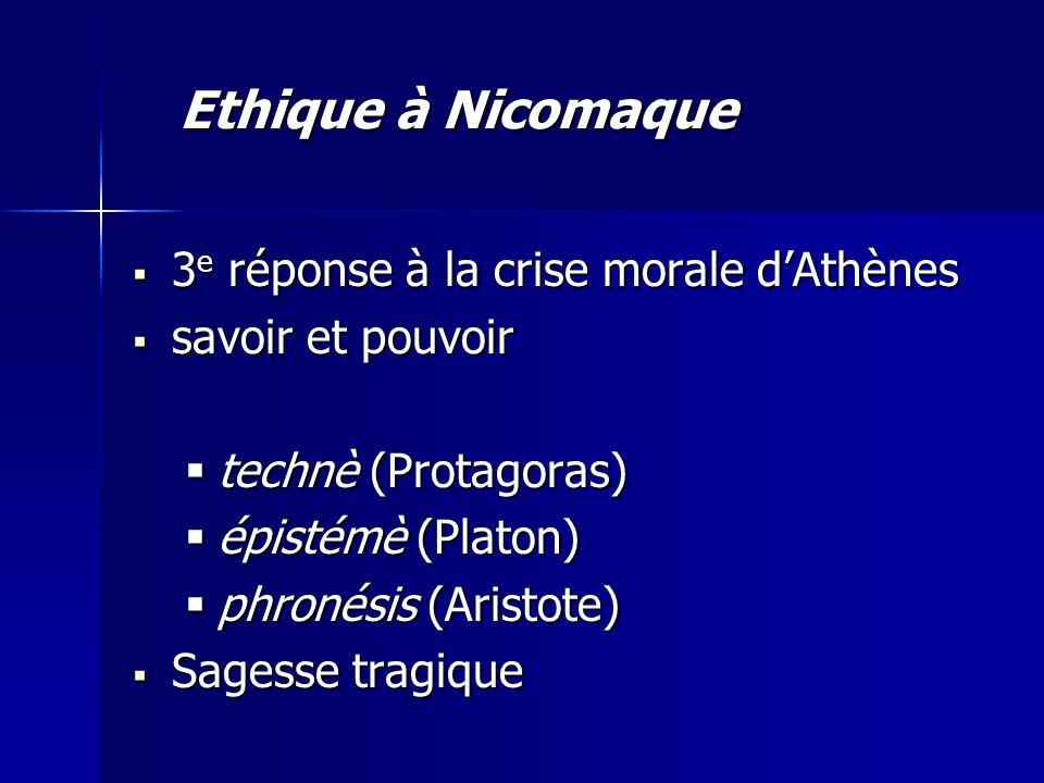 Ethique à Nicomaque 3e réponse à la crise morale d'Athènes