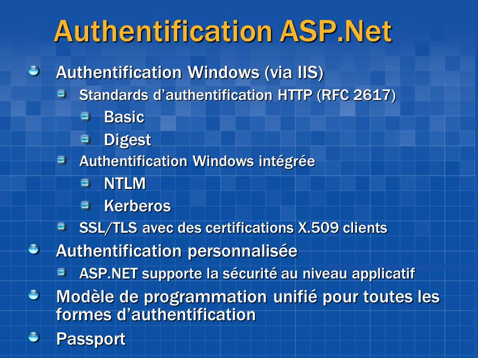 Authentification ASP.Net