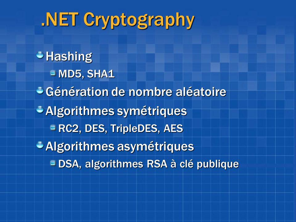 .NET Cryptography Hashing Génération de nombre aléatoire