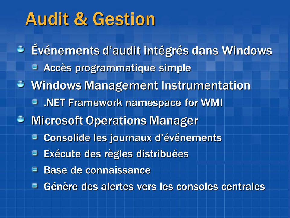 Audit & Gestion Événements d'audit intégrés dans Windows