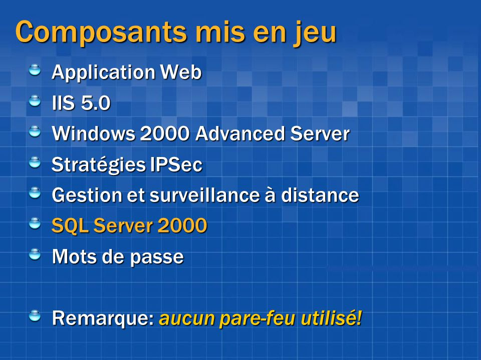 Composants mis en jeu Application Web IIS 5.0