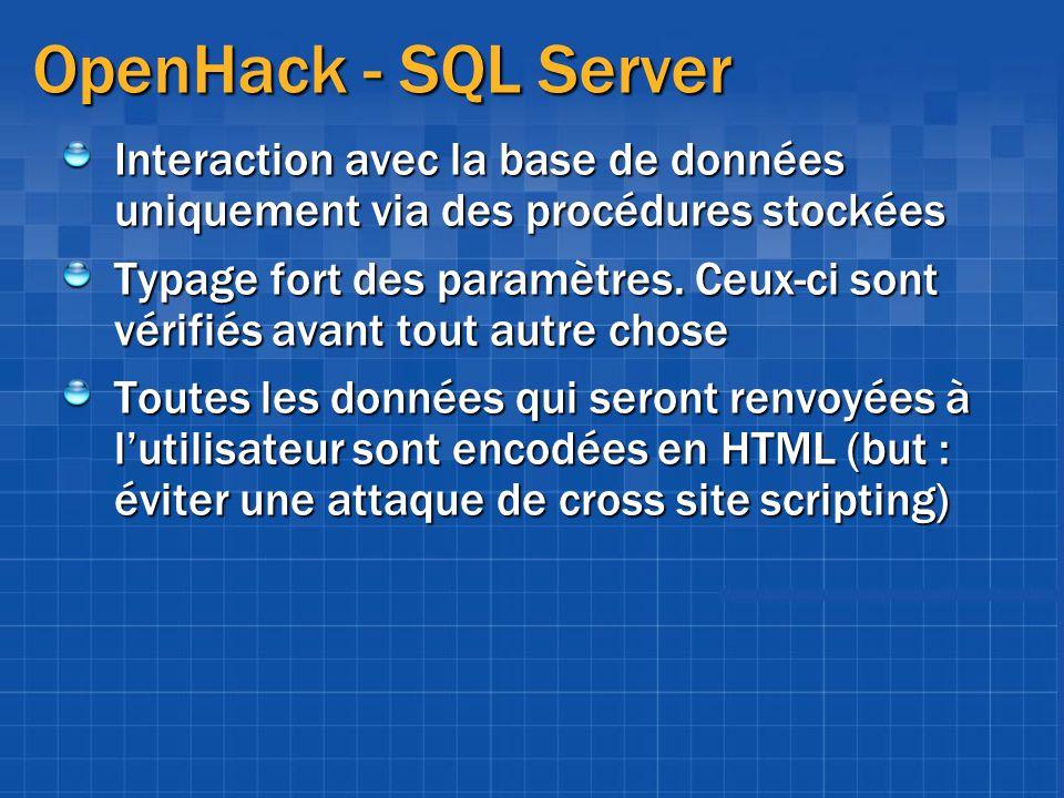 OpenHack - SQL Server Interaction avec la base de données uniquement via des procédures stockées.