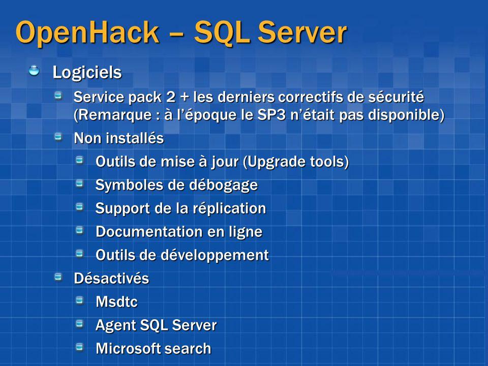 OpenHack – SQL Server Logiciels