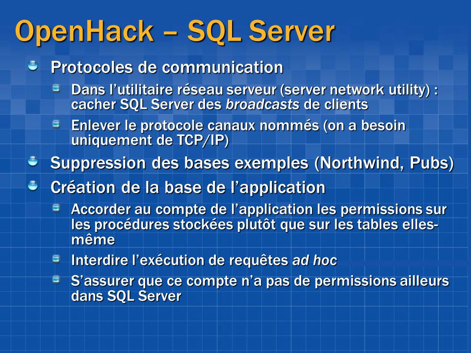 OpenHack – SQL Server Protocoles de communication