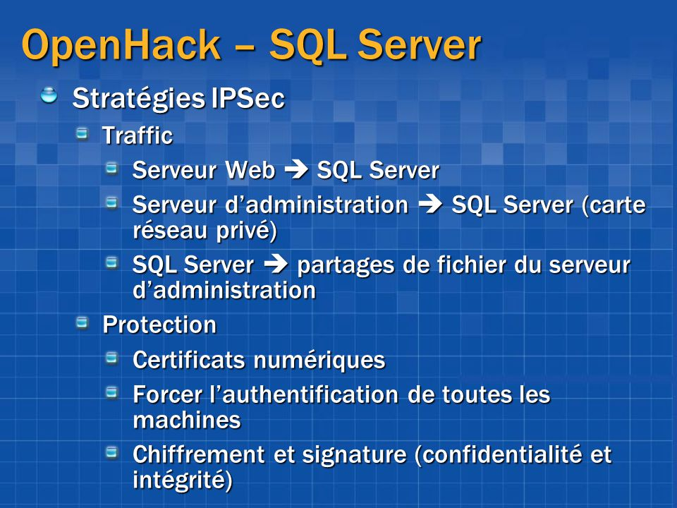 OpenHack – SQL Server Stratégies IPSec Traffic