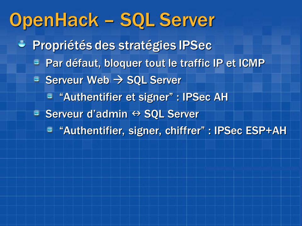 OpenHack – SQL Server Propriétés des stratégies IPSec