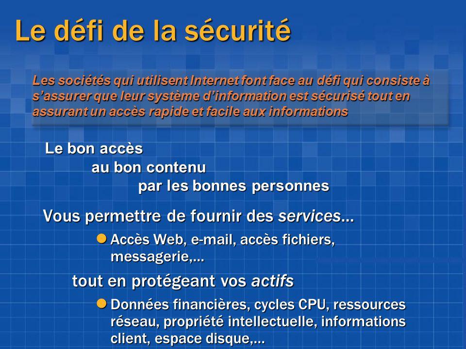 Le défi de la sécurité Vous permettre de fournir des services…