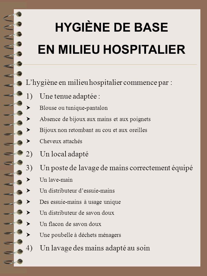 HYGIÈNE DE BASE EN MILIEU HOSPITALIER