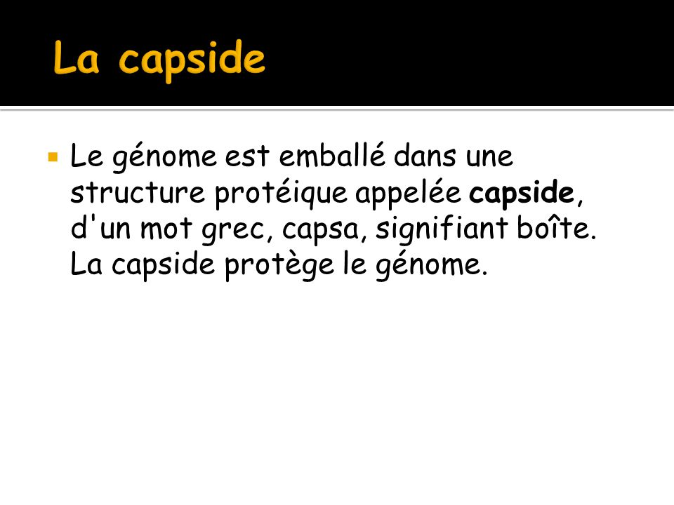 La capside Le génome est emballé dans une structure protéique appelée capside, d un mot grec, capsa, signifiant boîte.