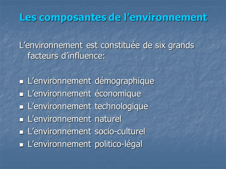 Les composantes de l'environnement
