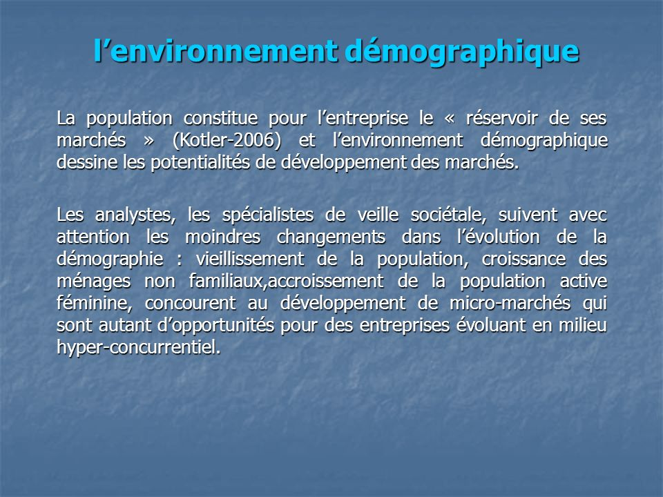 l'environnement démographique