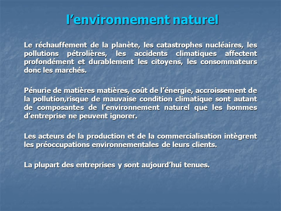 l'environnement naturel