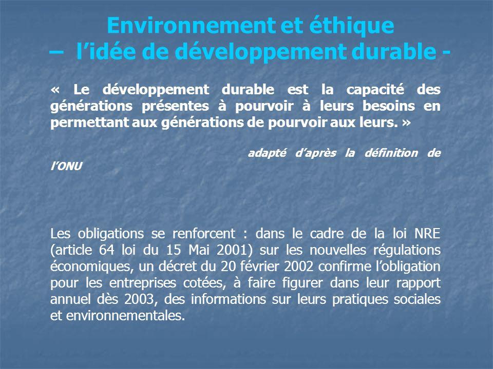 Environnement et éthique – l'idée de développement durable -