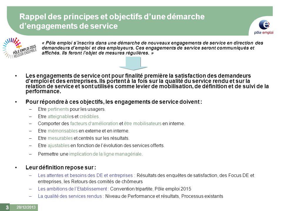 Rappel des principes et objectifs d'une démarche d'engagements de service