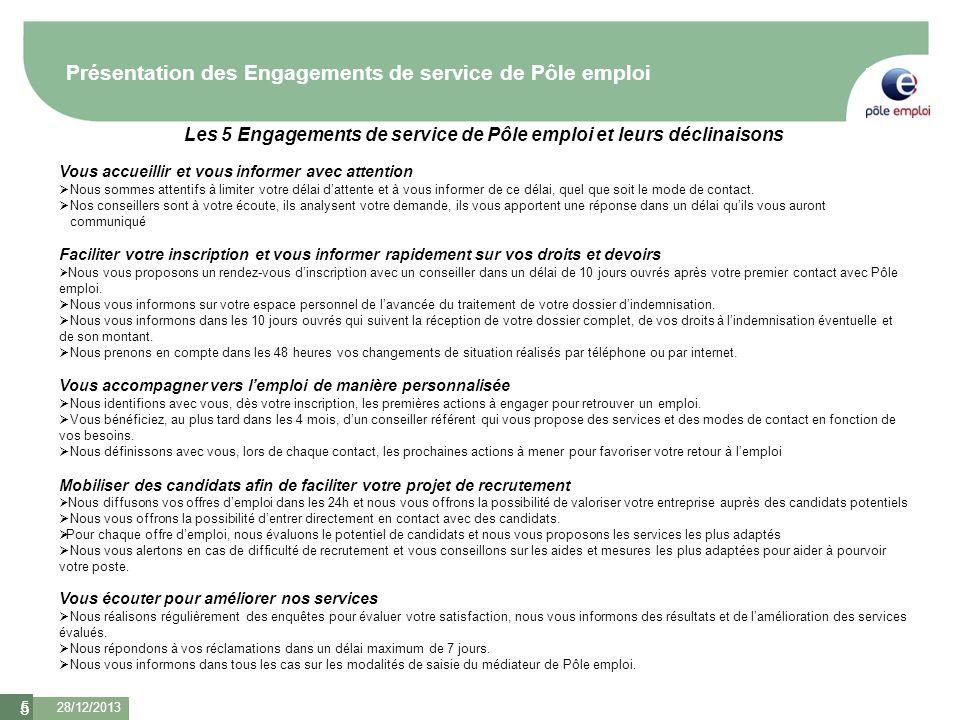 Les 5 Engagements de service de Pôle emploi et leurs déclinaisons