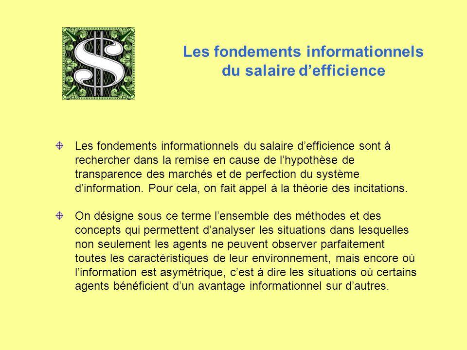 Les fondements informationnels du salaire d'efficience