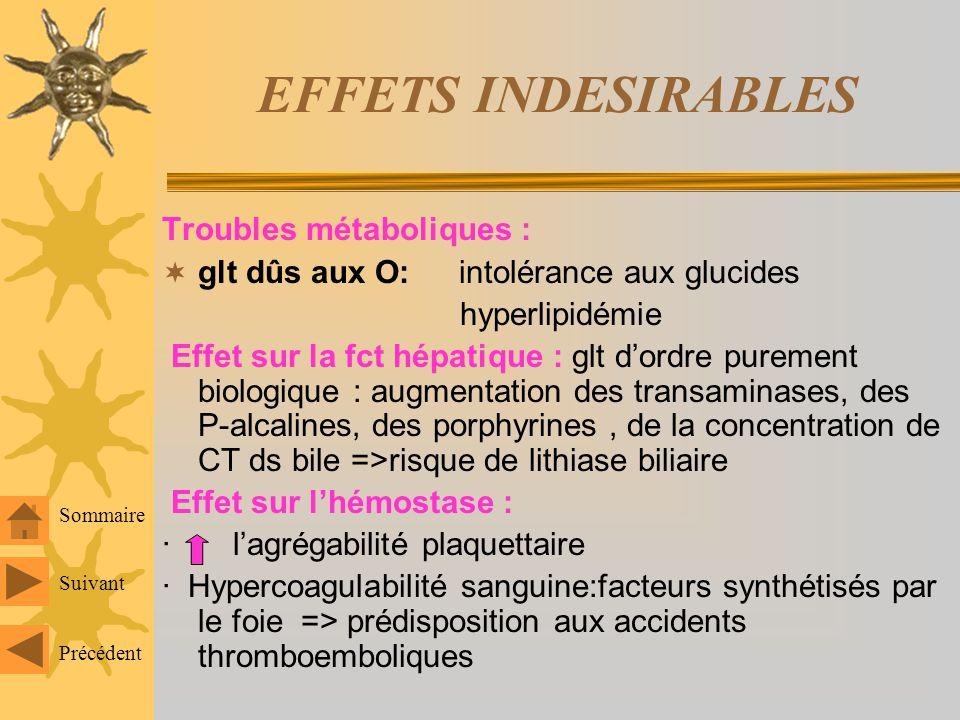 EFFETS INDESIRABLES Troubles métaboliques :