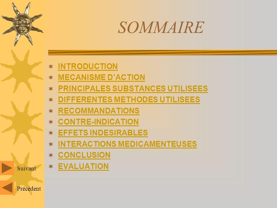 SOMMAIRE INTRODUCTION MECANISME D'ACTION