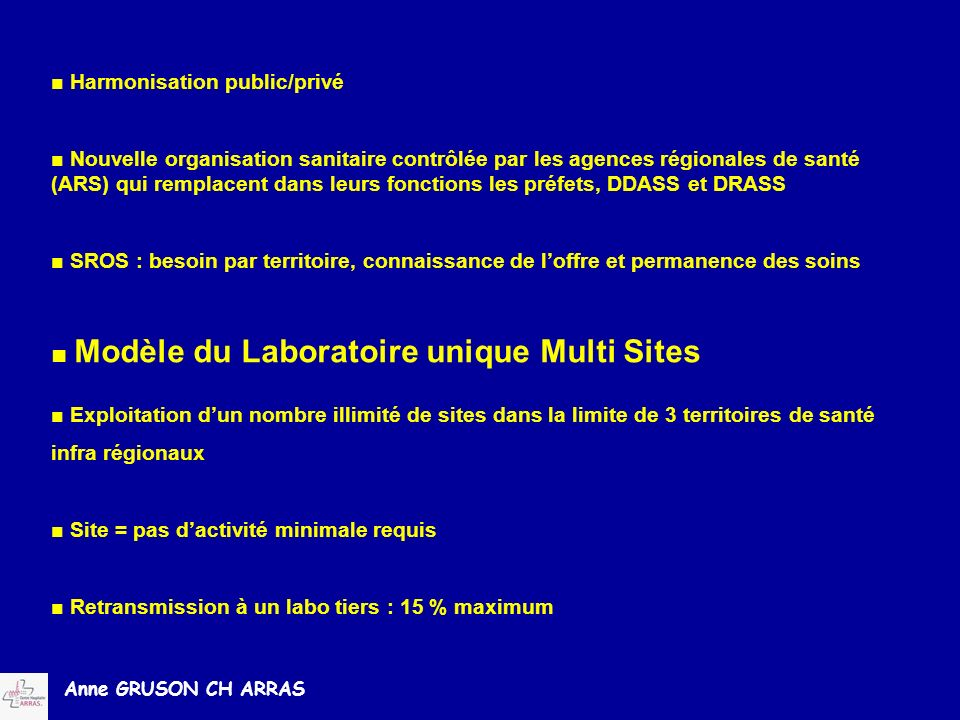 ■ Modèle du Laboratoire unique Multi Sites